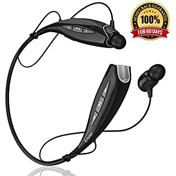 Phaiser BHS-930 Bluetooth Stereo Around-the-Neck Earphones with Mic, Black