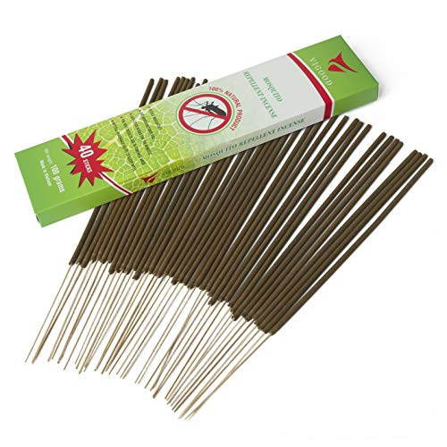 Vigood Mosquito Sticks - Most Flying Bugs Repellent Incense Sticks - 100% All Natural DEET Free - Bamboo Infused Natural Herbs Fragrant Smell - Non Toxic Insect Repellent - Burns 100 Mins Pack of 40