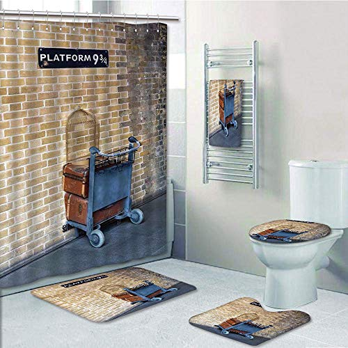 Bathroom 5 Piece Set shower curtain 3d print Customized,Wizard,Secret Way to the Train to Magical World Kings Cross Station Famous Landmark Picture,Brown,Bath Mat,Bathroom Carpet Rug,Non-Slip,Bath Tow by iPrint