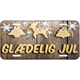 Metal License Plate Merry Christmas in Danish from Denmark, Faroe Islands - Neo