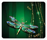 Ambesonne Dragonfly Mouse Pad, Elegance Vivid Figures in Gemstone Crystal Diamond Featured Artsy