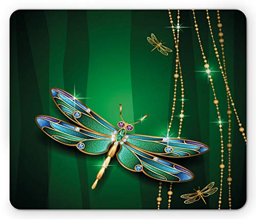 Ambesonne Dragonfly Mouse Pad, Elegance Vivid Figures in Gemstone Crystal Diamond Featured Artsy Effects, Standard Size Rectangle Non-Slip Rubber Mousepad, Gold Hunter Green