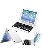 ARTECK Ultra-Thin Apple iPad Mini Bluetooth Keyboard Folio Case Cover with Built-In Stand Groove for Apple iPad Mini 3/2/1/iPad Mini with Retina Display with 130 Degree Swivel Rotating ¨C Silver