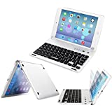 Arteck Ultra-Thin Apple iPad Mini Wireless Bluetooth Keyboard Folio Case Cover with Built-In Stand Groove for Apple iPad Mini 3/2/1 iPad Mini with Retina Display with 130 Degree Swivel Rotating-Silver