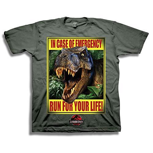 Jurassic Park Boys Dinosaur Shirt Park Dinosaur Splatter Tee World T-Rex Shirt (Charcoal, -