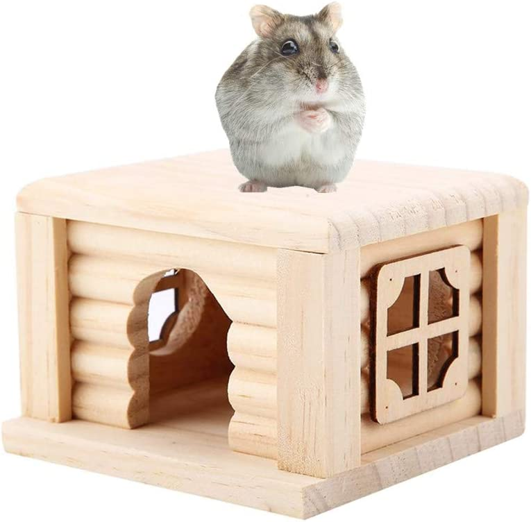 Pssopp Casa Hamster Cabaña Hamster de Madera Natural Top Plano Habitación pequeña para Mascotas Casa de Animales pequeños con Ventana para Todos Hamster
