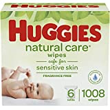 Huggies Natural Care Unscented Baby Wipes, Sensitive, 6 Refill Packs (1008 Wipes)