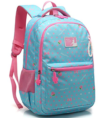 Kid Girl School Backpack Water Resistant Elementary Dot Bookbag with Chest Strap (Light Blue) (Best Backpack For First Grader)