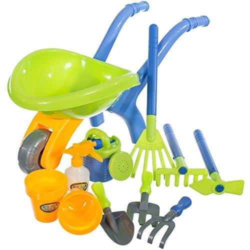 Kinderschubkarre mit Zubehör (11-tlg) Kinder Schubkarre Gartenschubkarre Karre