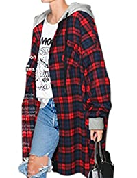 YesFashion Women's Vintage Plus Size Plaid Hooded New Look Loose Coat