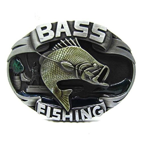 Pewter Bass Fishing Metal Belt Buckle Flying Fish Fishman Vintage Cowboy (Bass Belt Buckle)