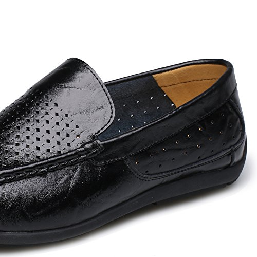 Alexis Leroy Breathable Leather Slip on Loafer Mens Shoes Black QnqCH8
