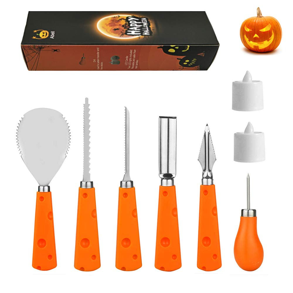 Abell Halloween Pumpkin Carving Kit with 2 Tea Lights 6 PCS Sturdy Stainless Steel Pumpkin Carving Tools Set for Carving Jack-O-Lanterns by Abell