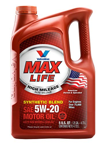 Valvoline High Mileage with MaxLife Technology 5W-20 Synthetic Blend Motor Oil - 5qt (782253) (Best Motor Oil For High Mileage)
