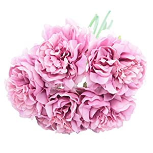 EBTOYS Artificial Silk Peony Flower Bouquet Wedding Party Home Decor, Pack of 5-Light Purple 104