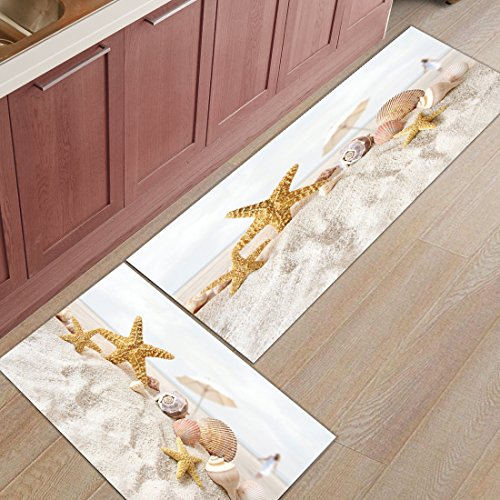 Z&L Home 2 Pieces Kitchen Rugs and Mats Non Slip Rubber Backing Floor Carpet Accent Area Runner Thin Low Pile Indoor Doormat Set-Beach Ocean Starfish Seashell