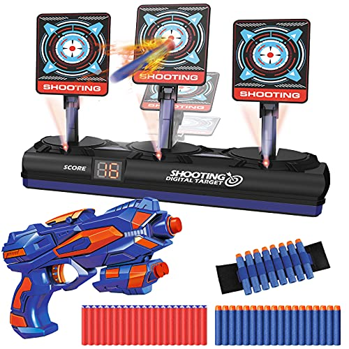 Electric Target for Nerf Guns, Digital Target w/ 1 Toy Gun, 40 Foam Darts & 1 Dart Wrist Band, Auto Reset & Sound Effect, Kids Shooting Game Toy, Birthday Gifts for Boys Girls Age 6-13
