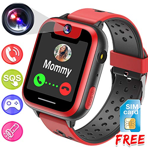 [Free Speedtalk Card] Kids Smart Watch Phone for 3-12 Years Old Girls Boys, Digital Game Watch 1.54'' HD Screen 2 Way Call Camera SOS Alarm Clock Flashlight Wrist Watch Back to School Suppliers Gifts