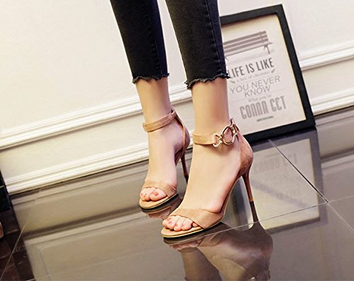 Leisure Spring Heels Toe 39 Lady MDRW All Metal High Work 8Cm Buckle Match Fine Pink With Sandals Open Work Shoes Elegant A qHzwHIt