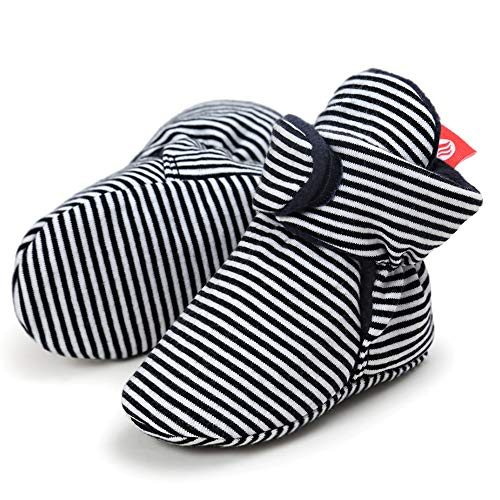 FANTINY Newborn Baby Cozy Fleece Booties with Non Skid Bottom,DNDXBX,3N.Striped Black,13 ()