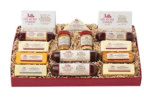 Hickory Farms Holiday Gift Set 4.1 Pounds of Beef, Turkey,Cheese Sweet Hot Mustard