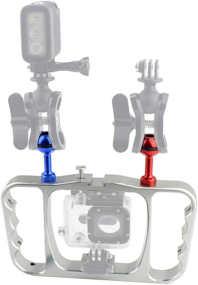 4 5 6 Action Camera Accessories Black Grip XT-XINTE CNC Aluminum Dual Ball Mount Adapter Bracket Kit Diving Video Fill Light Grip Compatible for GoPro HERO3 3