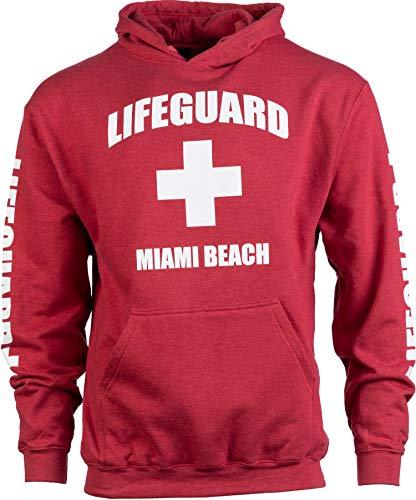 (Miami Beach Lifeguard | Red Florida FL Hoody Sweatshirt Hoodie Sweater Men Women - (Hood,M))