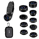 Cell Phone Camera Lens, AiKEGlobal 9 in 1 Wide Angle Lens, Macro Lens, Fisheye Lens, 2X Telephoto Lens, CPL Lens, Starbrust and Kaleidoscope Lens Compatible iPhone, Samsung, Most Smartphone