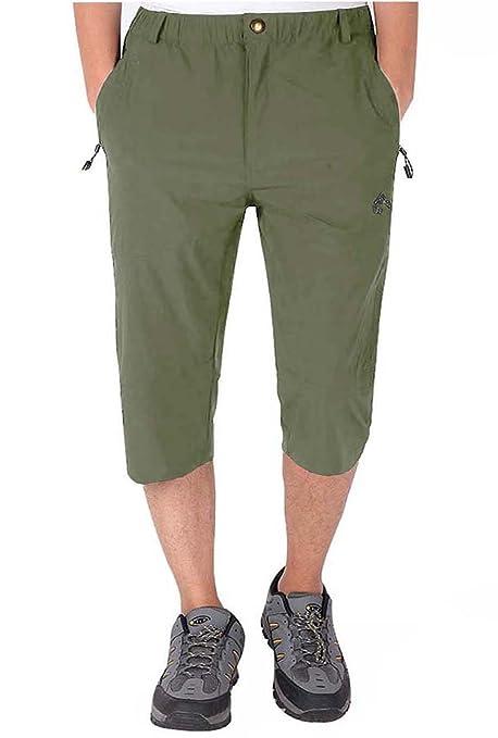 77ca3287ce5193 LASIUMIAT Men¡¯s Casual Elastic Waist 3/4 Long Cargo Shorts Outdoor Quick