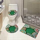 Moroccan bathmat toilet mat set Oriental Motif with Mix of Hippie Retro Circle Morocco Mosaic Lines Sacred Holy Design 3D digital printing Rug Set Multi