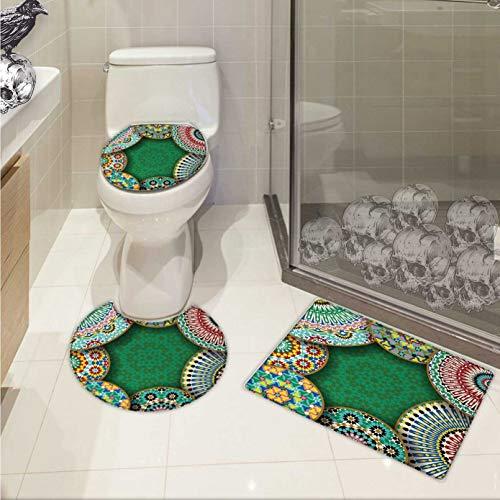Moroccan bathmat toilet mat set Oriental Motif with Mix of Hippie Retro Circle Morocco Mosaic Lines Sacred Holy Design 3D digital printing Rug Set Multi by Carl Morris