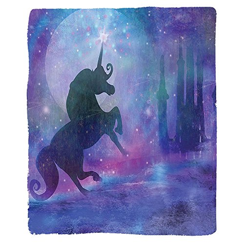 Kisscase Custom Blanket Fantasy Magical Unicorn Silhouette Legendary Myth Creature with Shiny Stars Dream Print Bedroom Living Room Dorm Violet Purple
