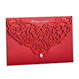 Wishmade 100x Chinese Red Printable Laser Cut Invitation Kits with Rhinestone For Wedding Bridal Shower Baby Shower Birthdy Anniversary Party with Envelope CW3108