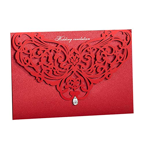 WISHMADE 50 Chinese Style Classic Red Laser Cut Wedding Invites, Printable Invitation Pocket with Envelope, for Wedding Engagement Bridal Shower CW3108 -