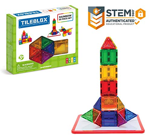 Tileblox Rainbow (30 pieces)  with Magnetic    Activity Board Magnetic    Building      Blocks, Educational  Magnetic    Tiles Kit , Magnetic    Construction  STEM Toy Set