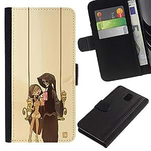 KLONGSHOP // Tirón de la caja Cartera de cuero con ranuras para tarjetas - Pareja Parca - Samsung Galaxy Note 3 III //