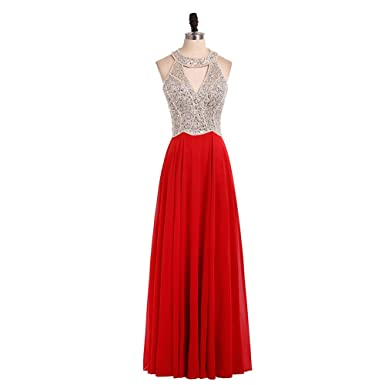 HONGFUYU Womens Crystal Beaded Prom Dresses 2018 Long Evening Gowns Formal Red-US2