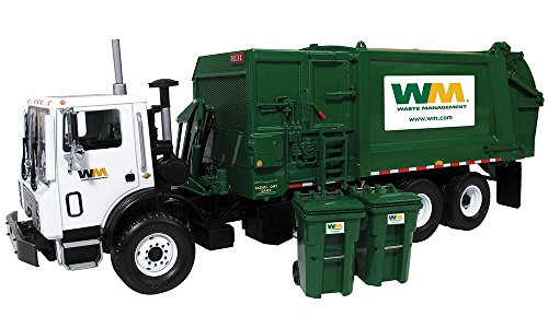 First Gear 1/34 scale Diecast Collectible Waste Management Mack TerraPro with Side Loader with Trash Carts (#10-4004A)