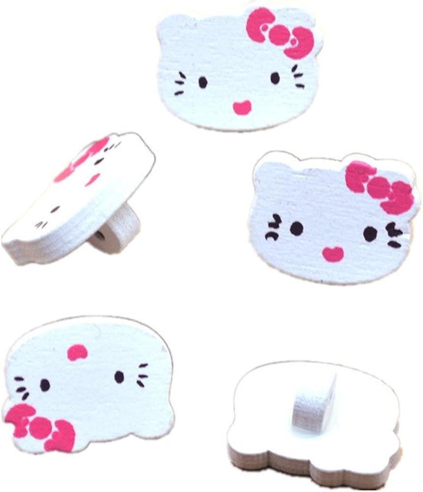 20 Stk Knöpfe Hello Kitty 15 19mm Durchmesser Aus Holz Holzknöpfe Bekleidung