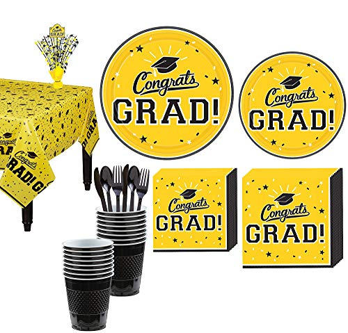 Party City Congrats Grad Yellow 2019 Graduation Decorations and Supplies for 18 Guests with Plates, Napkins and More -