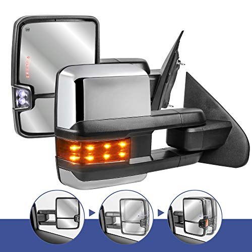 New 2016 Chevy - MOSTPLUS New Power Fold Chrome Towing Mirrors for 2014-2018 GMC Serria Chevy Silverado w/Turn light, Clearance Lamp(Set of 2) Not for Diesel Truck
