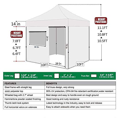 Eurmax 10'x10' Ez Pop-up Canopy Tent Commercial Instant Tent with 4 Removable Zipper End Side Walls and Roller Bag, Bonus 4 SandBags (White)