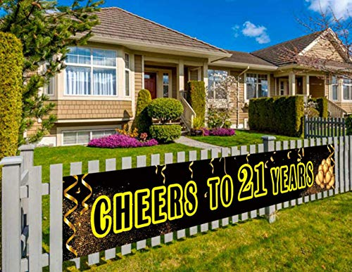 Large 21st Birthday Party Banner, 21st Birthday Party Supplies Decorations, 21st Birthday Sign, Cheers to 21 Years (9.8 x 1.5 feet) (Best Way To Celebrate 21st Birthday)