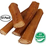 "5"" Straight Bully Sticks for Dogs [Large Thickness] (10 Pack) - Natural Low Odor Bulk Dog Dental Treats, Best Thick Pizzle Chew Stix, 5 inch, Chemical Free"