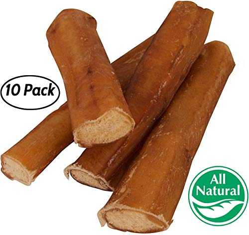 "5"" Straight Bully Sticks for Dogs [Large Thickness] (10 Pack) - Natural Low Odor Bulk Dog Dental Treats, Best Thick Pizzle Chew Stix, 5 inch, Chemical Free from Pawstruck"