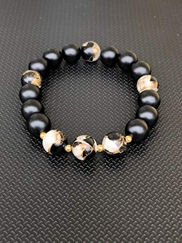 (Obsidian Bronze and 14k Gold with Onyx Bracelet)