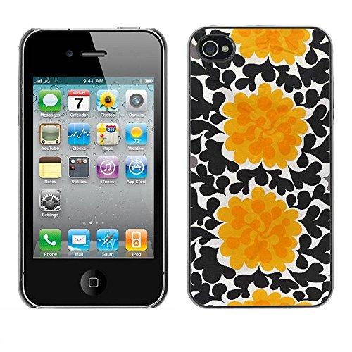 LASTONE PHONE CASE / Coque Housse Etui Shock-Absorption Bumper et Anti-Scratch Effacer Case Cover pour Apple Iphone 4 / 4S / Flowers Black Wallpaper Art