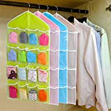 16 Pockets Clear Hanging Bag for Socks Bra Underwear Cupboard Rack Hanger Storage Organiser