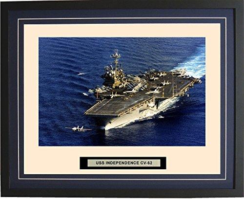 - Navy Emporium - USS Independence CV-62 - Framed - Photo - Engraved Ship Name - Double Mat - Photograph - 16 X 20 - 131CV62Blue