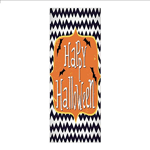 (3D Decorative Film Privacy Window Film No Glue,Halloween,Cute Halloween Greeting Card Inspired Design Celebration Doodle Chevron Decorative,Indigo White Orange,for)